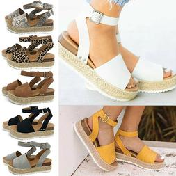 Womens Platform Sandals Wedge Low Heels Pumps Summer Peep To
