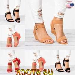 Women Open Toe Summer Ankle Strap Wedge Casual Sandals Shoes