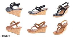 Women Open Toes Thong Wedge Sandals Fashion Heel Slip-Ons Fl