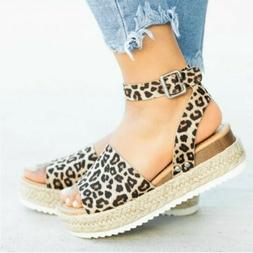 Women Ladies Platform Wedge Chunky Sandals Ankle Strap Summe
