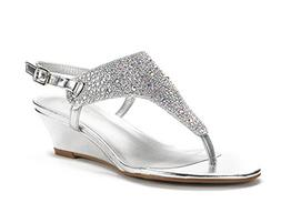 DREAM PAIRS Women's Aditi-New Silver Low Wedge Dress Sandals