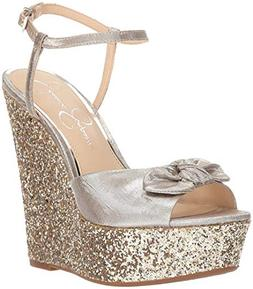 Jessica Simpson Women's AMELLA Wedge Sandal, Shimmer Silver,