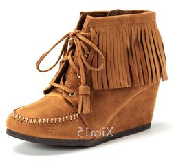 Women's Ankle Boots Wedge Round Toe Lace Up Moccasin Fringe