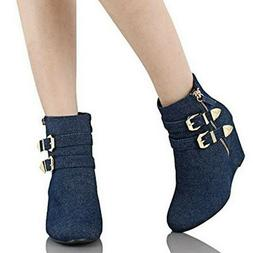 Forever Women's Ankle Wedge Fashion Platform Bootie Boots  S