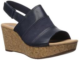 CLARKS Women's Annadel Janis Platform, Navy Leather, 7 Mediu
