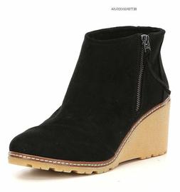 TOMS women's AVERY WEDGE HEEL BOOTS Suede Ankle Booties Side