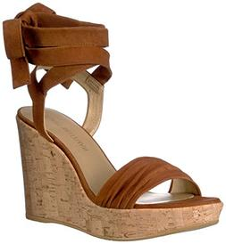 Stuart Weitzman Women's Backagain Wedge Sandal, Saddle, 7.5
