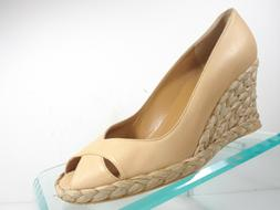 Stuart Weitzman Women's Beige Leather Wedge Open Toe Espadri