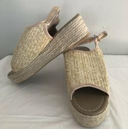 Women's Beige Peep Toe Slingback Wedge 8.5 Sandles Shoes New