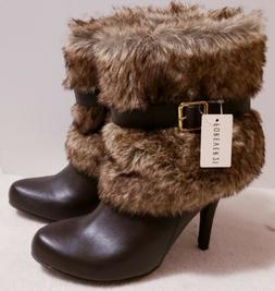 Forever 21 Women's Black Faux Fur Ankle Wedge Boots Buckle S