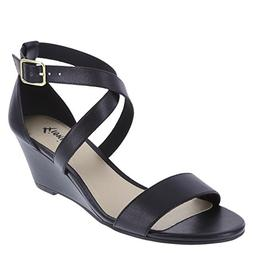 Fioni Women's Black Women's Princess Mid-Wedge Sandal 5 Regu