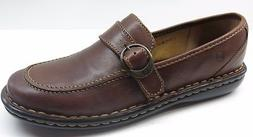 Women's Born Brown Leather Wedge Loafers Pumps Heels Shoes 6