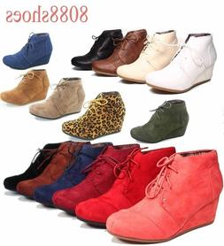 Women's Casual Oxford Ankle Booties Lace up  Low Wedge Shoes