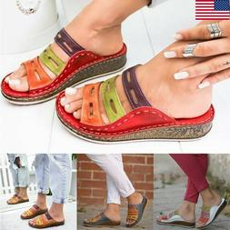 Women's Casual Slippers Sandals Wedge Low Heels Flip Flops P