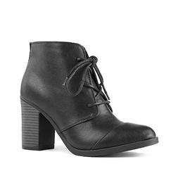 TOETOS Women's Chicago-05 Black Pu Leather Chunky Heel Ankle