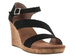TOMS Women's Clarissa Wedge Black Textile/Cork Sandal 12 B