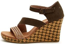 TOMS Women's Clarissa Wedge Olive Textile/Wrapped Sandal 11