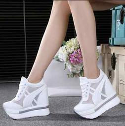 Women's Creepers Platform Canvas Wedges Sneakers Sports Sand