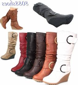 Women's Cute Round Toe Slouch Buckle Wedge Mid Calf  Boot Sh