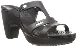 crocs Women's Cyprus V Heel W Dress Sandal, Black/Black, 6 B