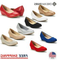 DREAM PAIRS Women's Debbie Mid Wedge Heel Pump Shoes