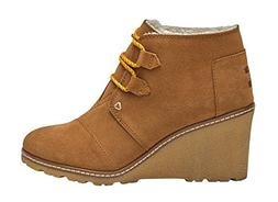 TOMS Women's Desert Wedge, Wheat Suede/Shearling/Faux Crepe