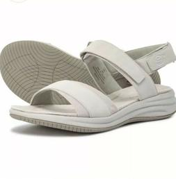 Women's Easy Spirit Draco3 Wedge Sandals Lt. Grey Fabric Siz