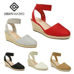 DREAM PAIRS Women's Elastic Ankle Strap Espadrilles Close To