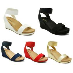 DREAM PAIRS  Women's Elastic Ankle Strap Open Toe Platform W