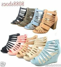Women's Fashion Cute Strappy Zipper Wedge High Heel Sandal S