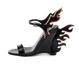 Women's Fashion Flame Accent Wedge Heels Sandals Pumps Hell