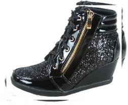 Forever Link Women's Fashion Glitter High Top Lace Up Wedge
