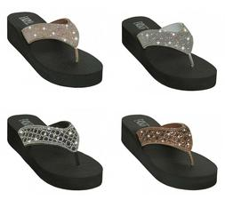 Women's Flip Flops Sandals Rhinestone Beaded Platform Wedge