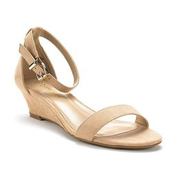 DREAM PAIRS Women's Ingrid Nude Suede Ankle Strap Low Wedge