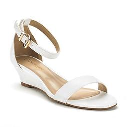 DREAM PAIRS Women's Ingrid White Pu-2 Ankle Strap Low Wedge