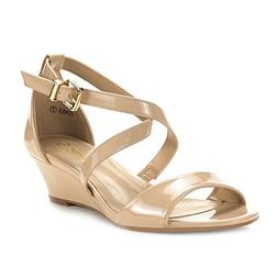 DREAM PAIRS Women's Jones Nude Pat Low Wedge Pump Sandals -
