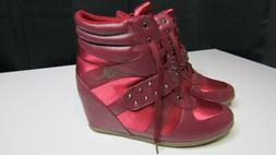 Apple Bottoms Women's Junia Studded Burgundy Wedge Sneakers