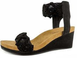 Lucky Brand Women's Kierlo Wedge Sandals Black Elko Nubuck S