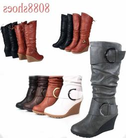 Women's  Lace Low Wedge Mid-Calf Knee High Slouchy Boot Shoe