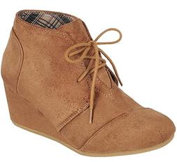 Forever Link Women's Lace Up Hidden Wedge Ankle Bootie  US,