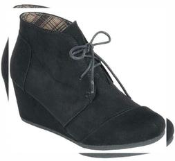 Forever Link Women's Lace up Hidden Wedge Ankle Bootie