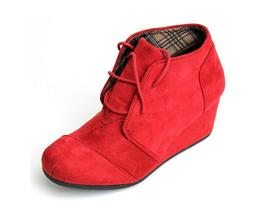 Women's Lace Up Low Wedge Heel Booties Faux Suede Round Toe