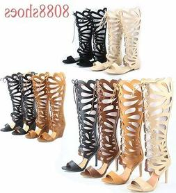 Women's  Lace Up Open Toe Gladiator High Heel Wedge Flat San