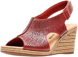 CLARKS Women's Lafley Rosen Platform, red Leather, 7 Medium
