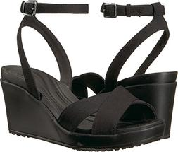 Crocs Women's Leigh II Ankle Strap Wedge W Sandal, Black, 6