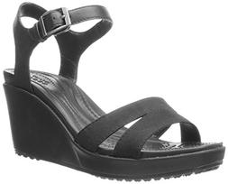 crocs Women's Leigh II Ankle Strap Wedge, Black/Black, 11 M