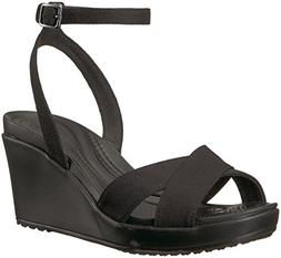 Crocs Women's Leigh II Ankle Strap Wedge W Sandal, Black, 7