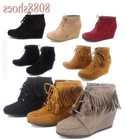 Women's Low Wedge Zipper Fringe Lace Up Oxford Booties Shoes