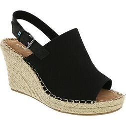 Toms Women's Monica Oxford Ankle-High Canvas Wedged Sandal