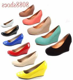 Women's Office Causal Cute Round Toe Wedge Platform  Heel Sh